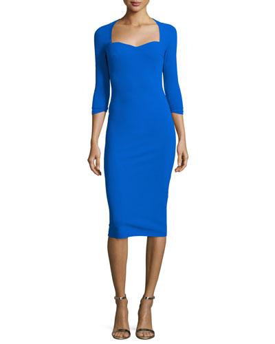 Serenity 3/4-Sleeve Sweetheart Knee-Length Cocktail Dress