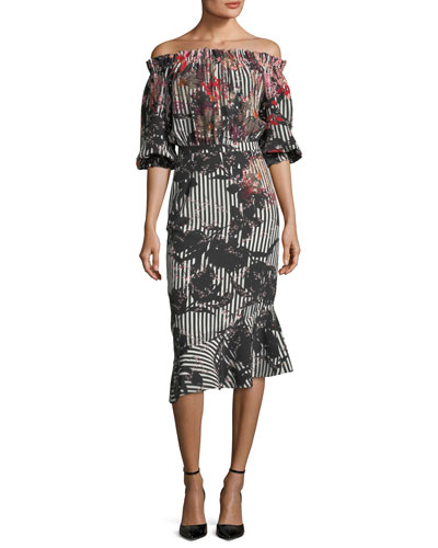 Grace Floral-Print Silk Midi Dress, Multipattern