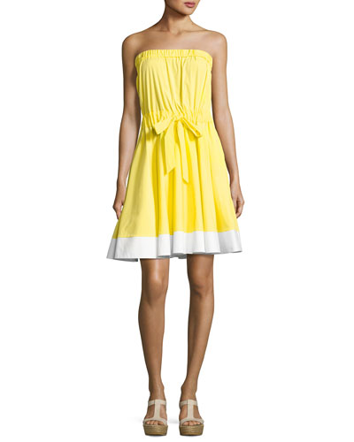 Ariel Strapless Stretch-Poplin Dress, Yellow/White