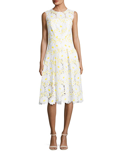 Petal Eyelet A-Line Dress, Yellow