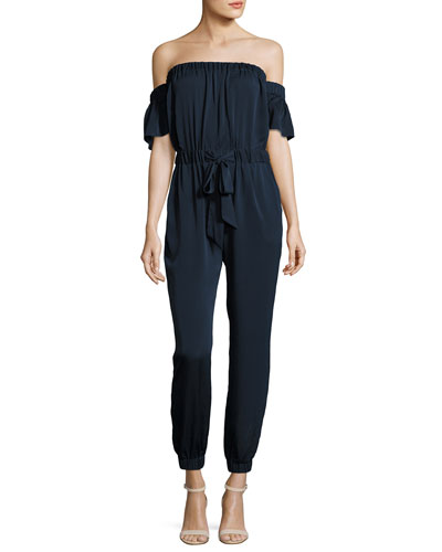 Maxime Off-the-Shoulder Stretch-Silk Jumpsuit