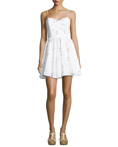 Gemma Surfer-Print Coupé Sweetheart Dress, White
