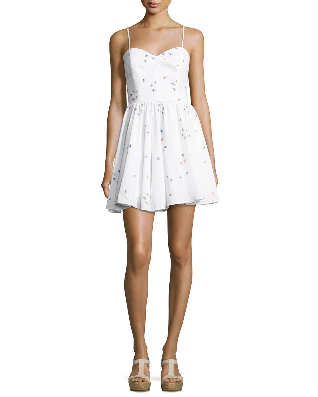 Milly Dresses GEMMA SURFER-PRINT COUPÉ SWEETHEART DRESS, WHITE