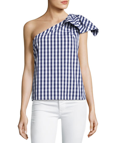 Cindy One-Shoulder Gingham Shirting Top, Navy