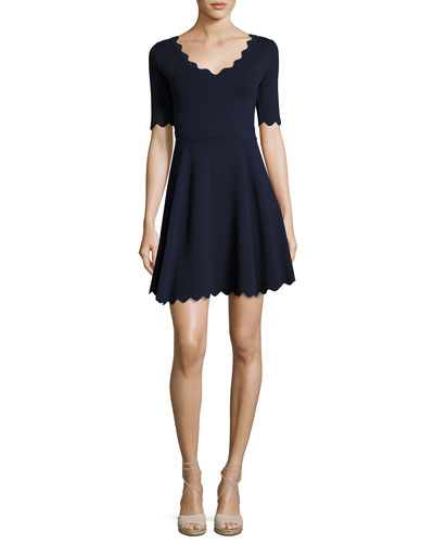 Scalloped Half-Sleeve Fit-&-Flare Dress, Navy