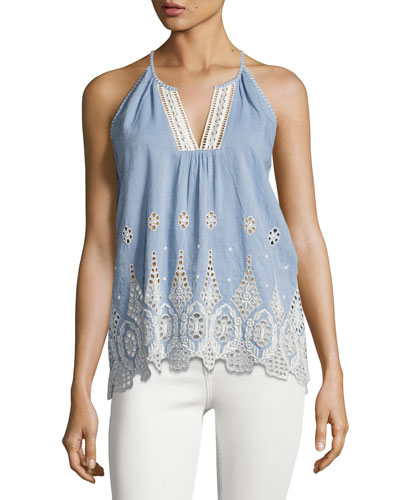 Josepe Crochet Tank Top, Blue