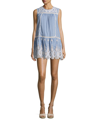 Josune Embroidered Cotton Dress, Blue