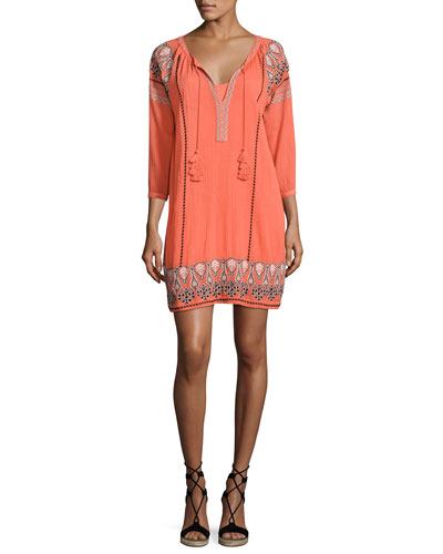 Nieva Embroidered Tassel Dress, Orange