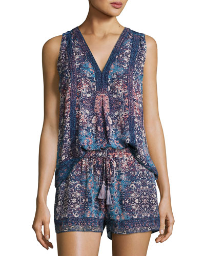 Adelcie Sleeveless Silk Printed Top