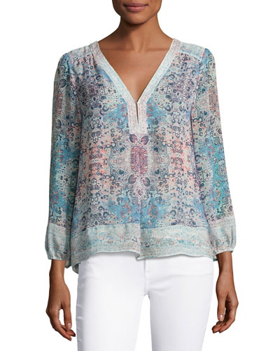 Angus-Marie Printed V-Neck Silk Top, Light Aqua