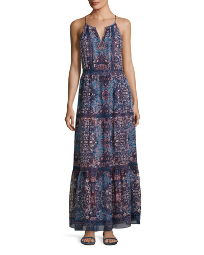 Agnece Tiered Silk Maxi Dress, Blue