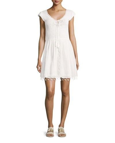 Paxti Embroidered Cotton Dress, Porcelain