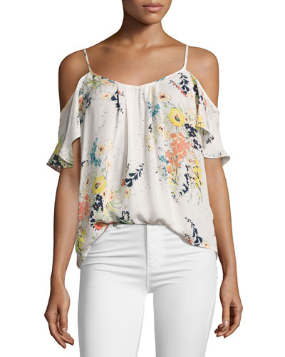 Adorlee Floral-Print Cold-Shoulder Silk Blouse, White