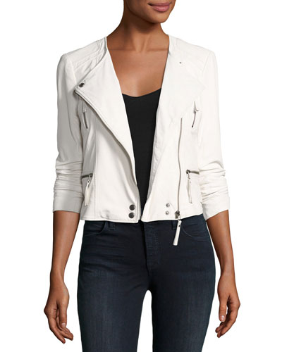 Beline Leather Moto Jacket, White