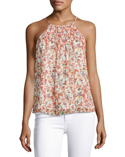 Pomeline Sleeveless Halter-Neck Floral-Print Top, Porcelain
