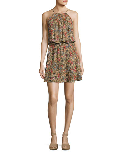 Reinelde Sleeveless Floral-Print Silk Dress