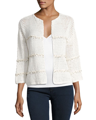 Jacquine Open-Front Cardigan Sweater, White