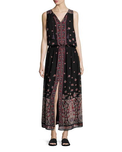 Phanette Printed Silk Maxi Dress, Black