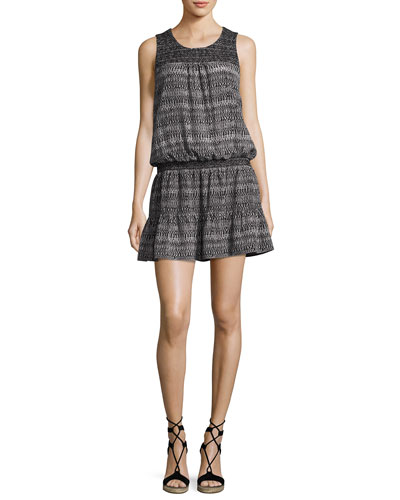 Leilou Printed Sleeveless Silk Dress, Black