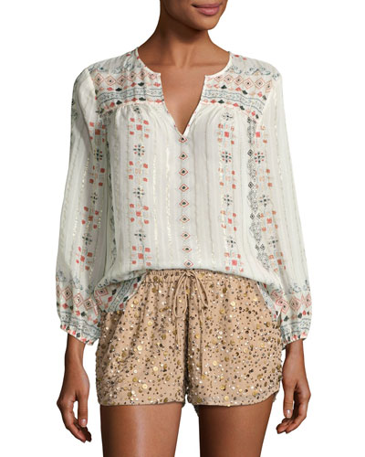 Maguie Embroidered Silk Top, Porcelain
