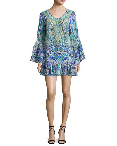 A-Line Frill Coverup Mini Dress, Multi