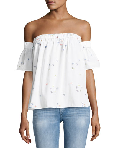 Off-the-Shoulder Surfer-Print Coupé Top, White