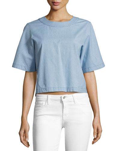 Archer Short-Sleeve Chambray Shirt, Blue