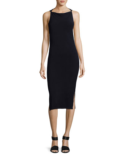 Hold Me Tight Exposed-Back Midi Dress, Black