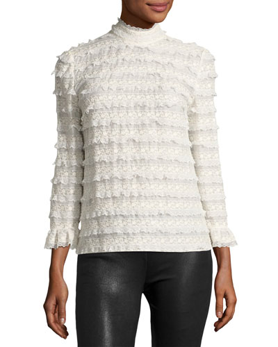 High-Neck Lace Cotton Blouse, White
