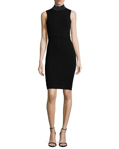 Sleeveless Gem-Collar Sheath Dress, Black