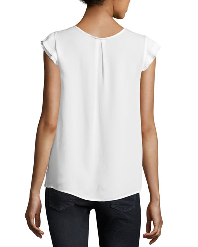 Nesrin Cap-Sleeve Silk Top, Porcelain