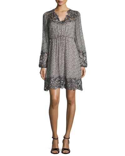 Tally Long-Sleeve Lace-Trimmed Printed Dress, Multi