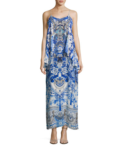 Embellished Layered Maxi Dress, Blue Multi
