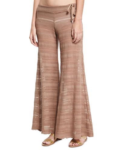 Crochet Lace Flare Beach Pants, Brown