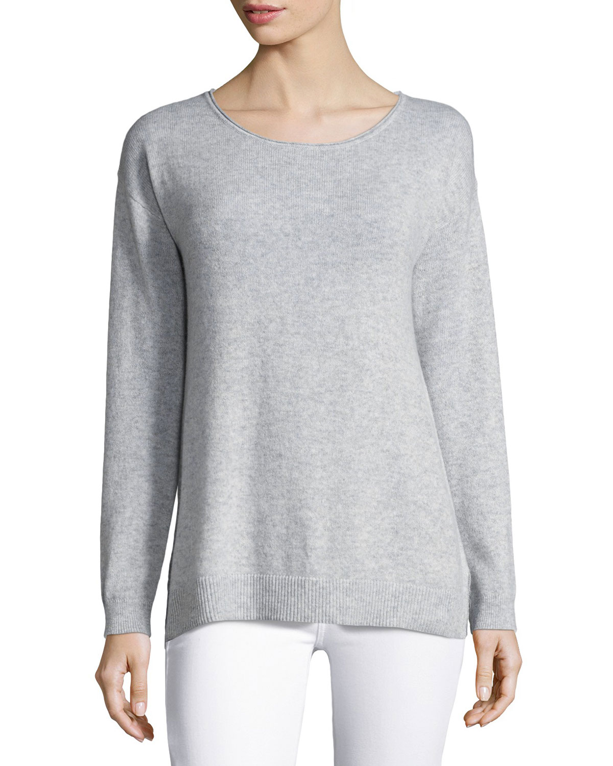 Cashmere Palm Tree Pullover Sweater, Gray