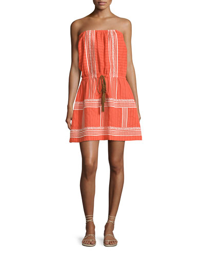Strapless Embroidered Sun Dress, Orange
