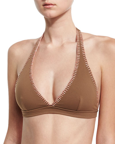 Whipstitch Halter Bikini Swim Top, Brown