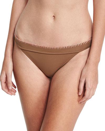 Whipstitch Solid Swim Bikini Bottom, Brown