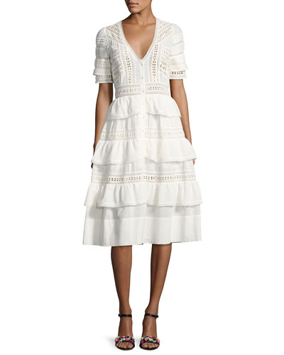Rebecca Embroidered Cotton Midi Dress