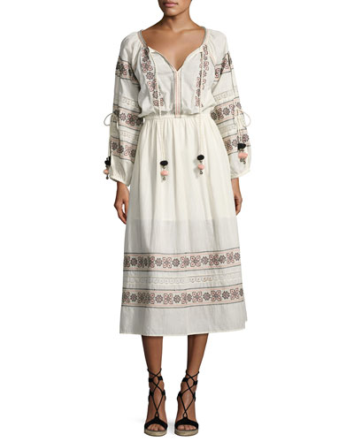Isla Embroidered Cotton Dress, Beige