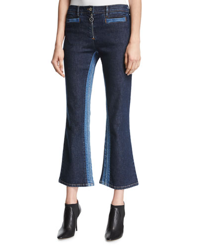 Cropped Flare-Leg Denim Pants, Blue