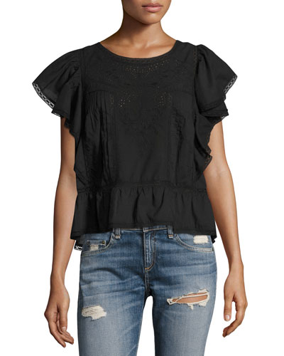 Rosemary Embroidered Cotton Top, Black