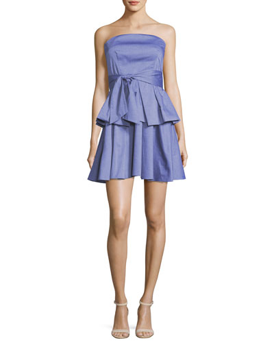 Kylie Strapless Ruffled Shirting Dress, Denim