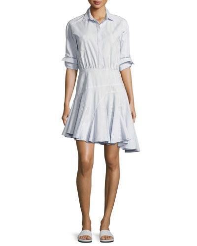 Long-Sleeve Asymmetric Striped Cotton Shirtdress, Baby Blue Multi