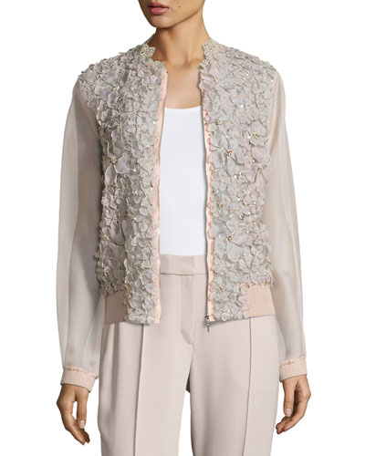 Suri Floral Silk Organza Bomber Jacket, Pink
