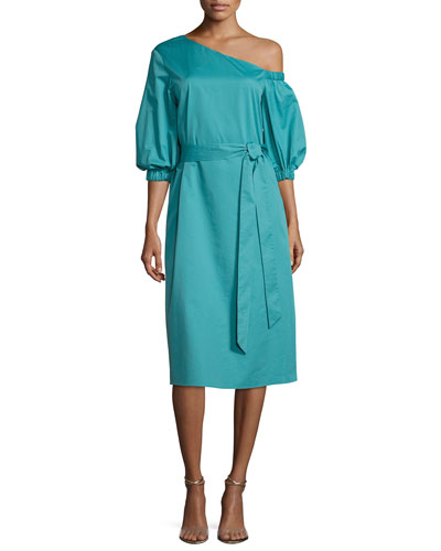 One-Shoulder Satin Poplin Midi Dress, Teal
