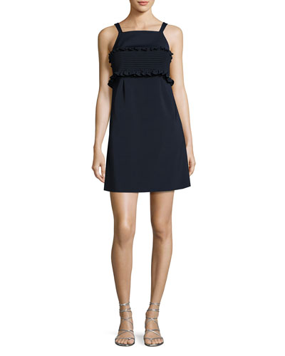Faille Sleeveless Short Dress, Navy