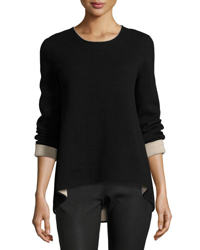 Double-Face Cashmere Pullover Sweater, Black Pattern
