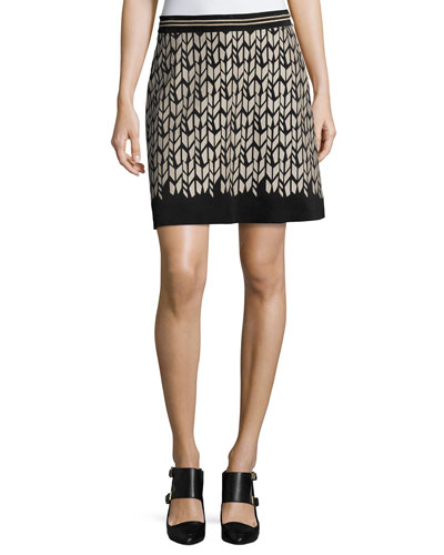Printed Suede Mini Skirt, Black Pattern