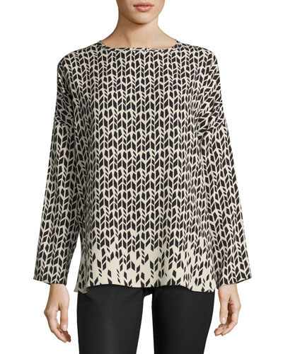 Printed Silk Blouse, Black Pattern